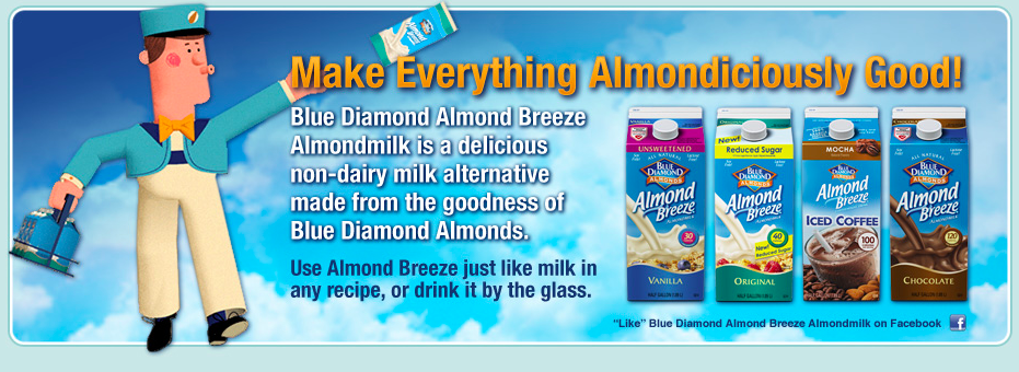 Make Everything Almondiciously Good!. Blue Diamond Almond Breeze Almondmilk is delivious non-dairy milk alternative made from the goodness of Blue Diamond Almonds. Use Almond Breeze just like milk in any recipe, or drink it by the glass.