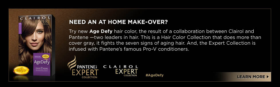 Need an at home make-over? Try new age defy hair color, the result of a collaboration between clairol and pantene -two leaders in hair. This is a Hair Color Collection that does more than cover gray, it fights the seven signs of ageing hair. And, the Expert Collection is infused with Pantene's famous Pro-V conditioners. Pantene Expert Collection. Clairol Expert Collection. #AgeDefy Learn More.