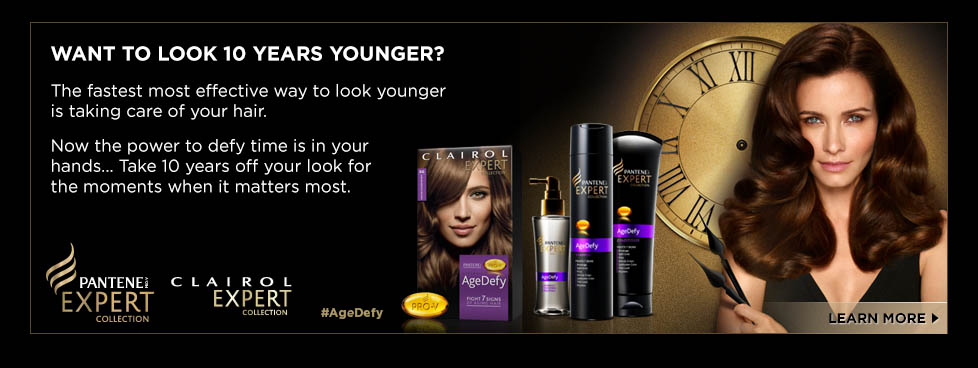 WANT TO LOOK 10 YEARS YOUNGER? The fastest most effective way to look younger is taking care of you hair. Now the power to defy time is in your hands... Take 10 years off you look for the moments when it matters most. Pantene Expert Collection. Clairol Expert Collection. #AgeDefy Learn More.